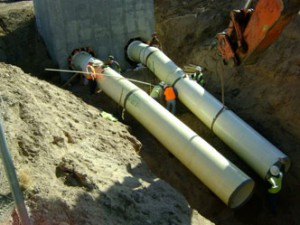"Twin siphon 42"" welded steel pipe with DuraShield 210 lining and coating"