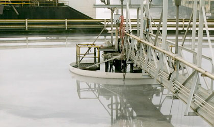 Wastewater treatment clarifier coated with DuraShield 310