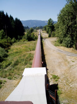 Penstock pipe heading to the powerhouse